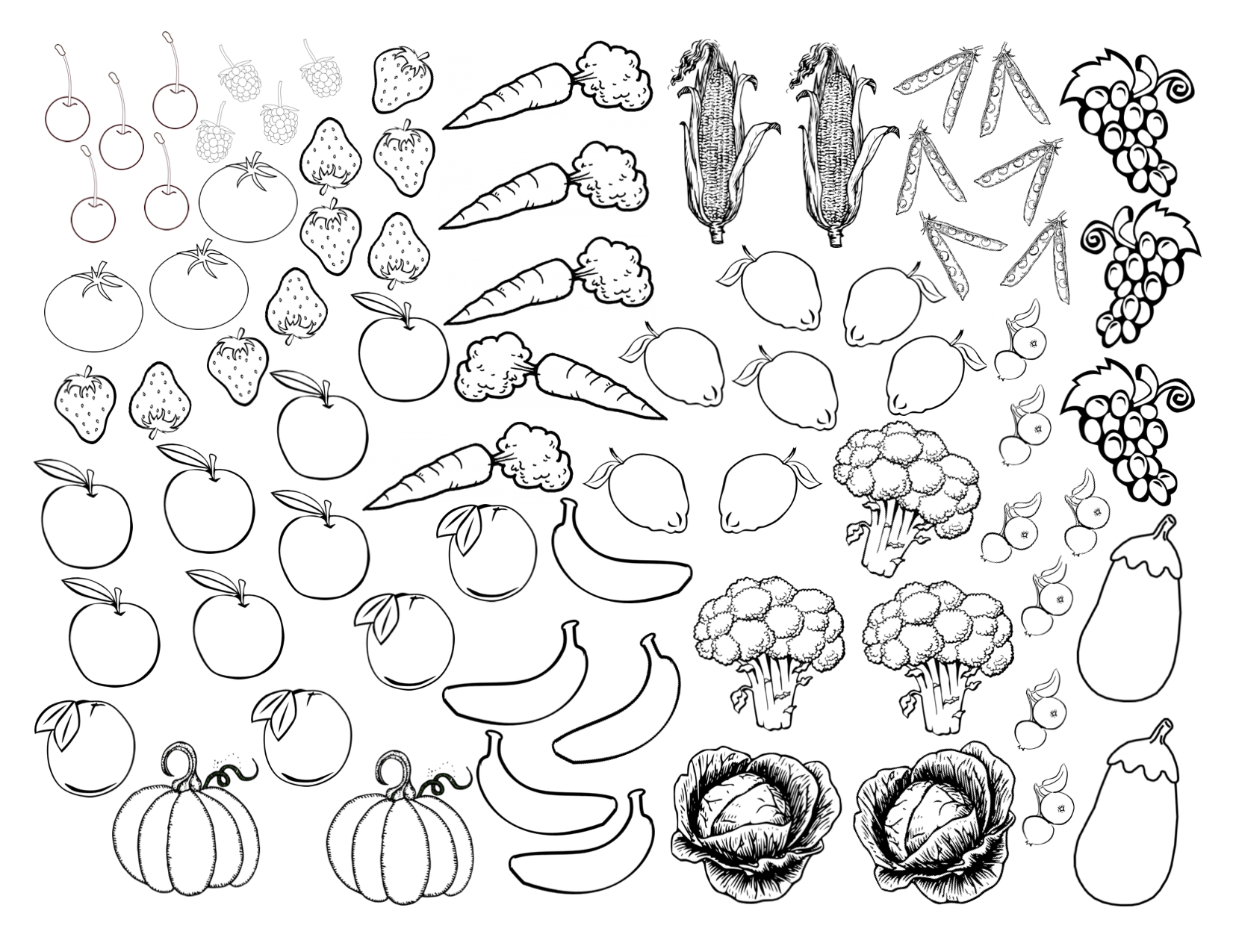 Fruits And Veggies Coloring Sheet PDF Click To Enlarge