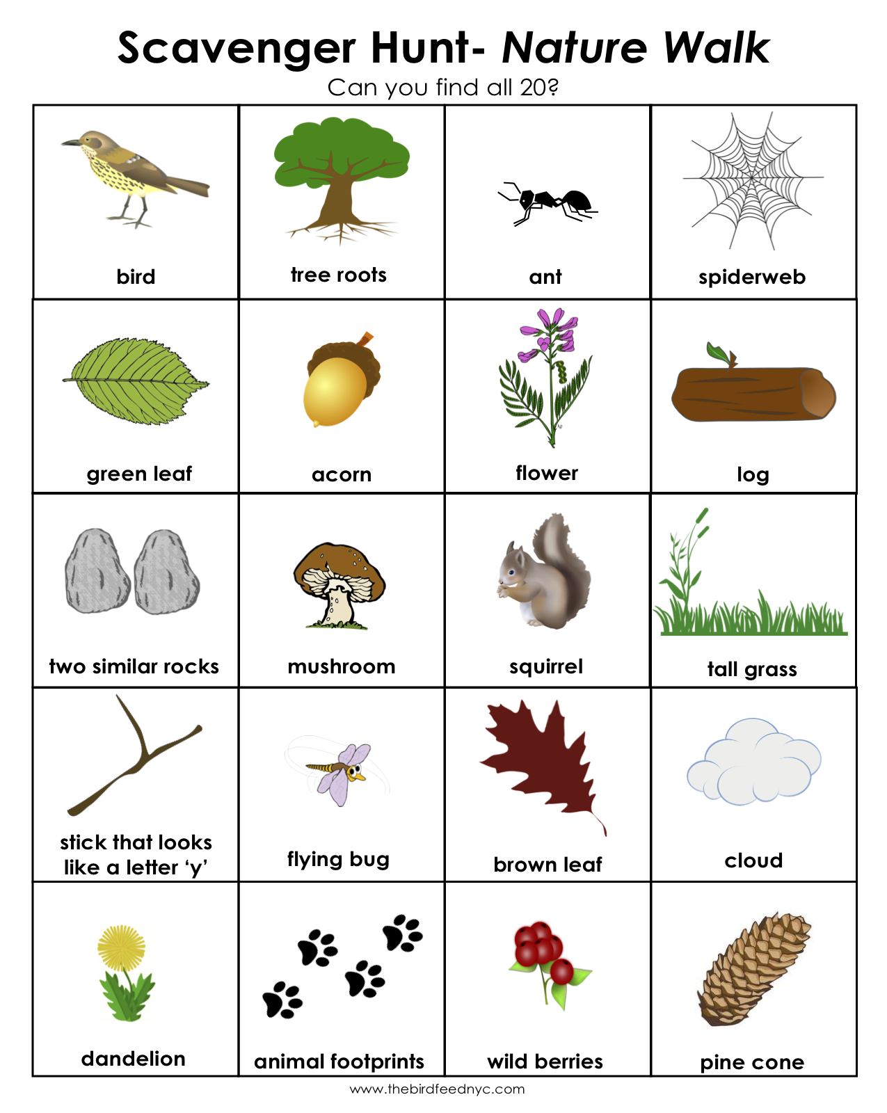 image relating to Printable Scavenger Hunt for Kids known as Scavenger Hunt for Young children: Mother nature Wander