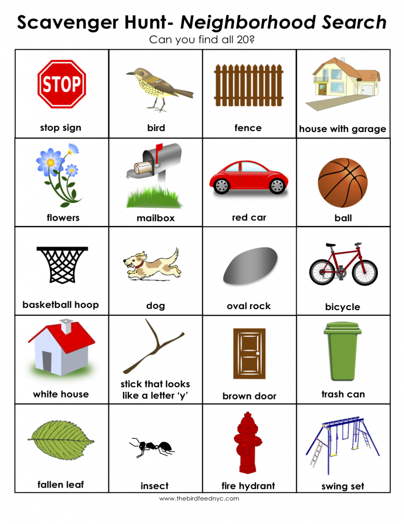 scavenger hunt for kids neighborhood search