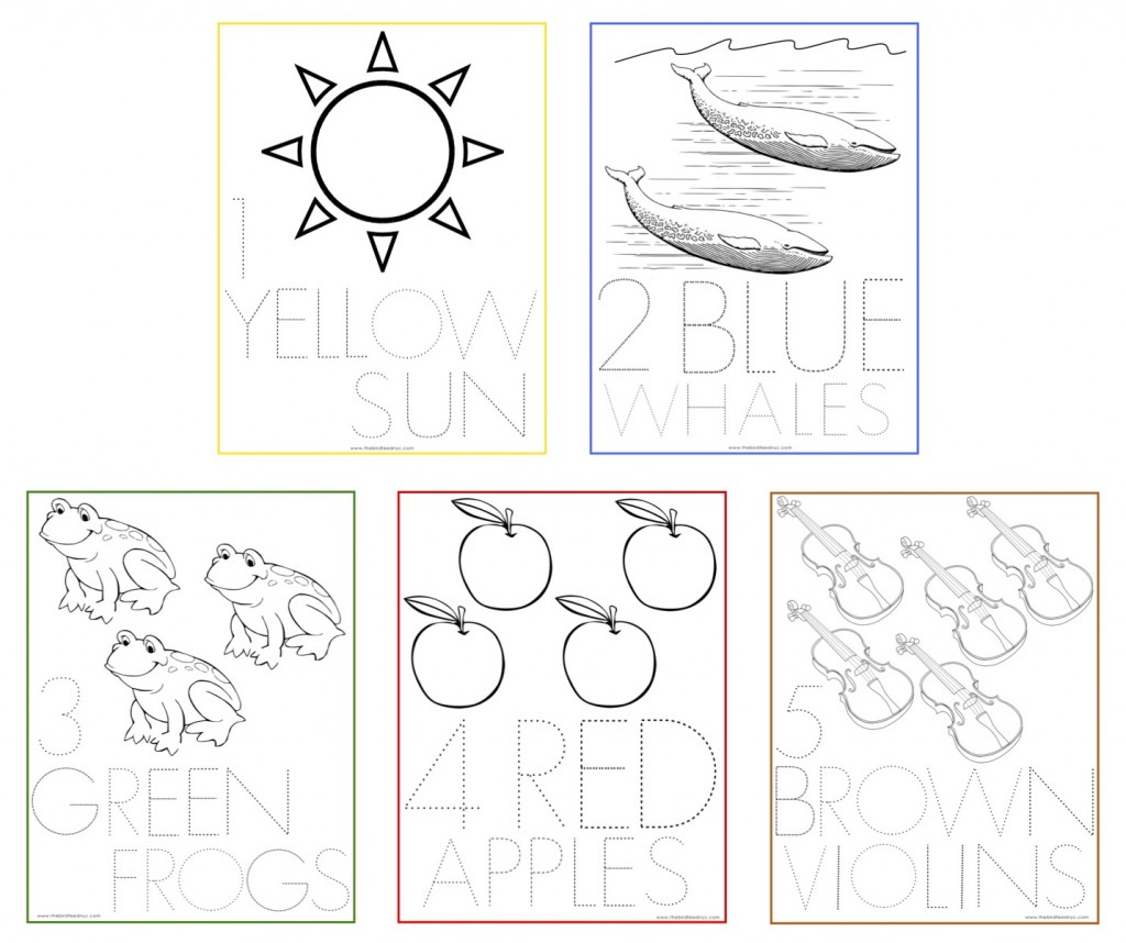 numbers coloring sheets 1 5