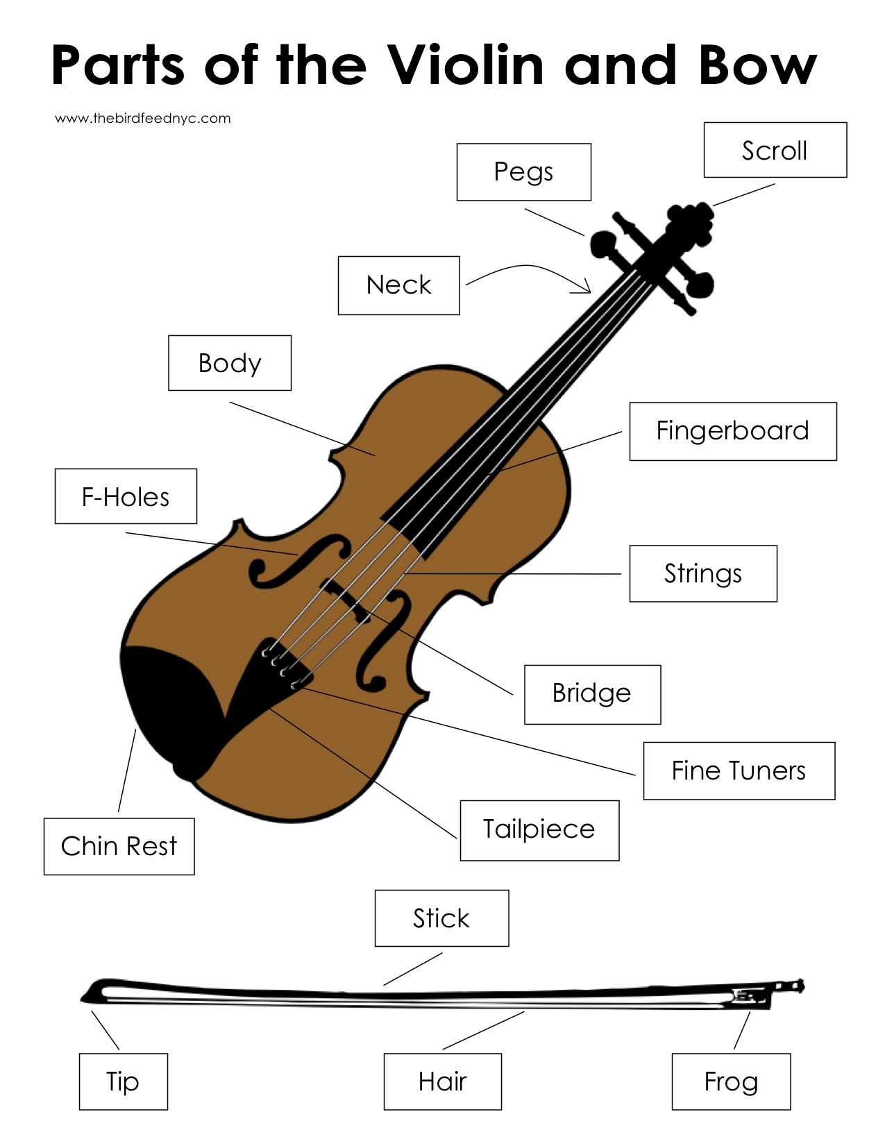 Music Activity Sheets: Parts of the Violin and Bow