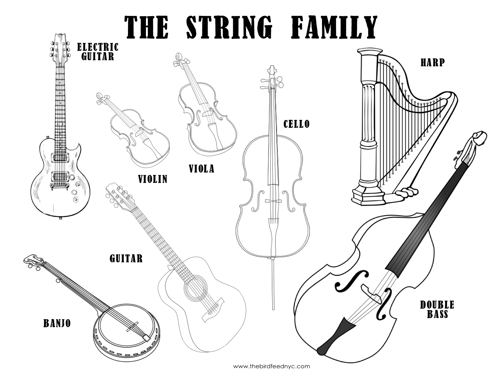 musical instruments coloring sheet the string family. Black Bedroom Furniture Sets. Home Design Ideas