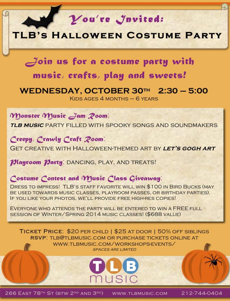 halloween costume party for kids at tlb music
