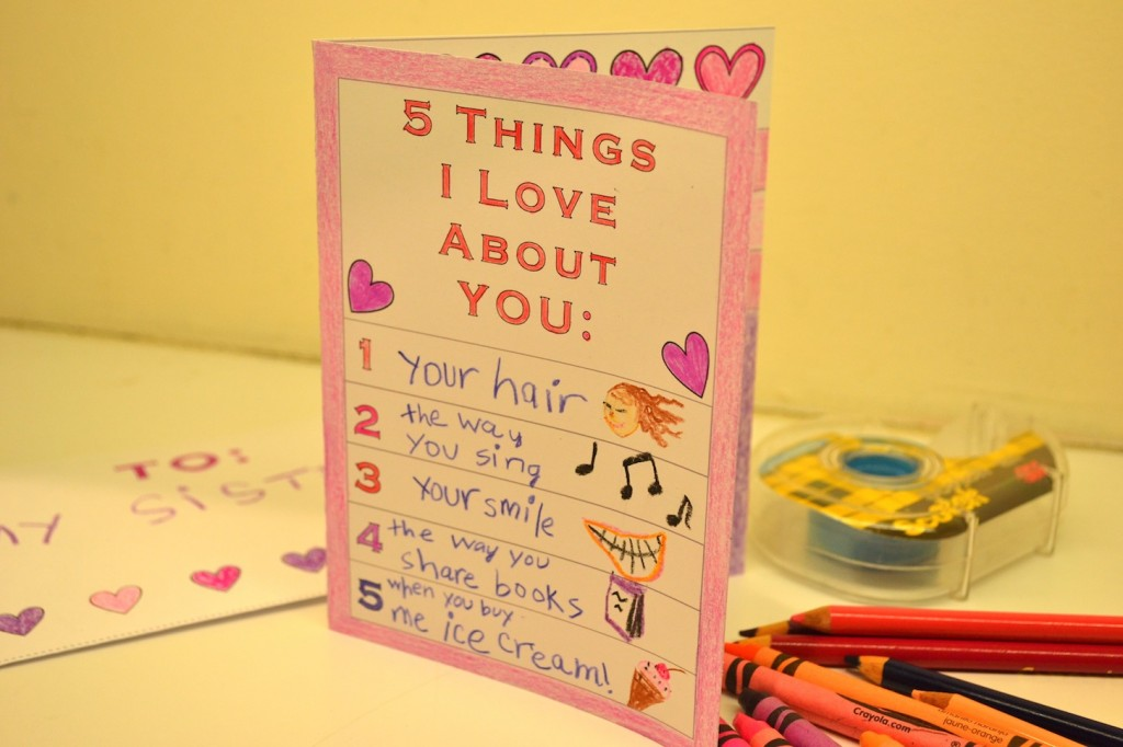 Free Printable 5 Things I Love About You Card For Kids