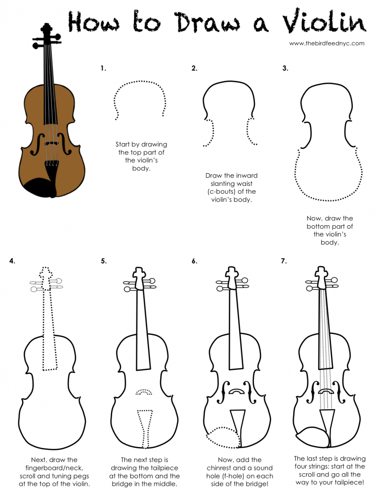 printable activity sheet for kids how to draw a violin - Printable Activity