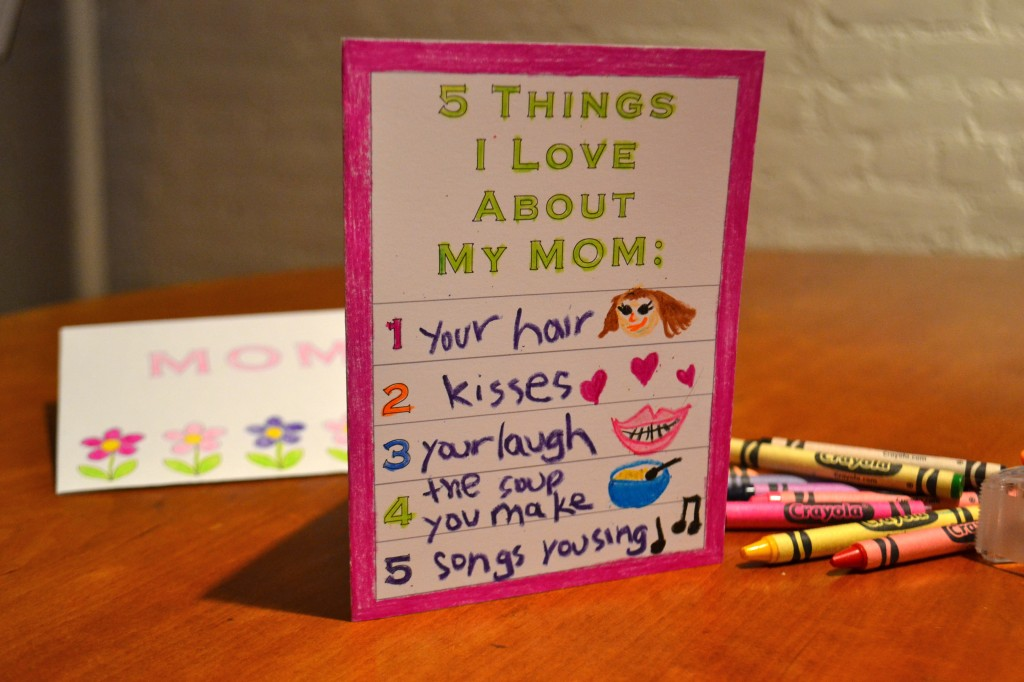 Printable card for kids 5 things i love about my mom for Things to do on mother s day at home