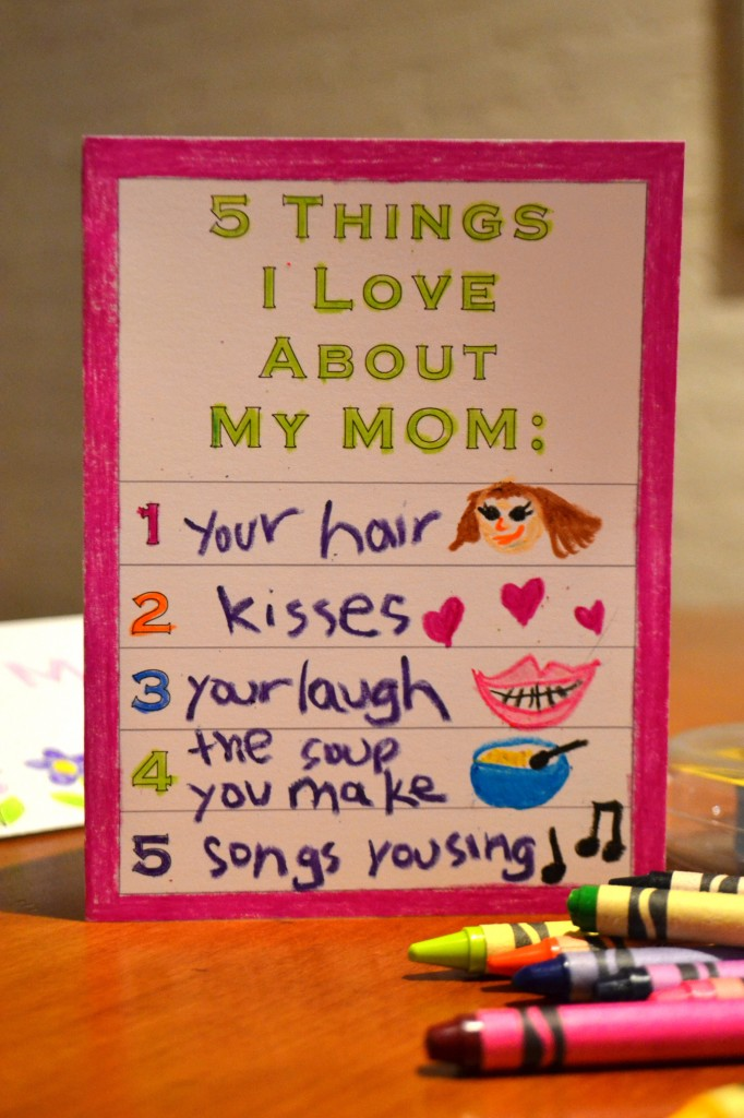 Printable Card For Kids 5 Things I Love About My Mom