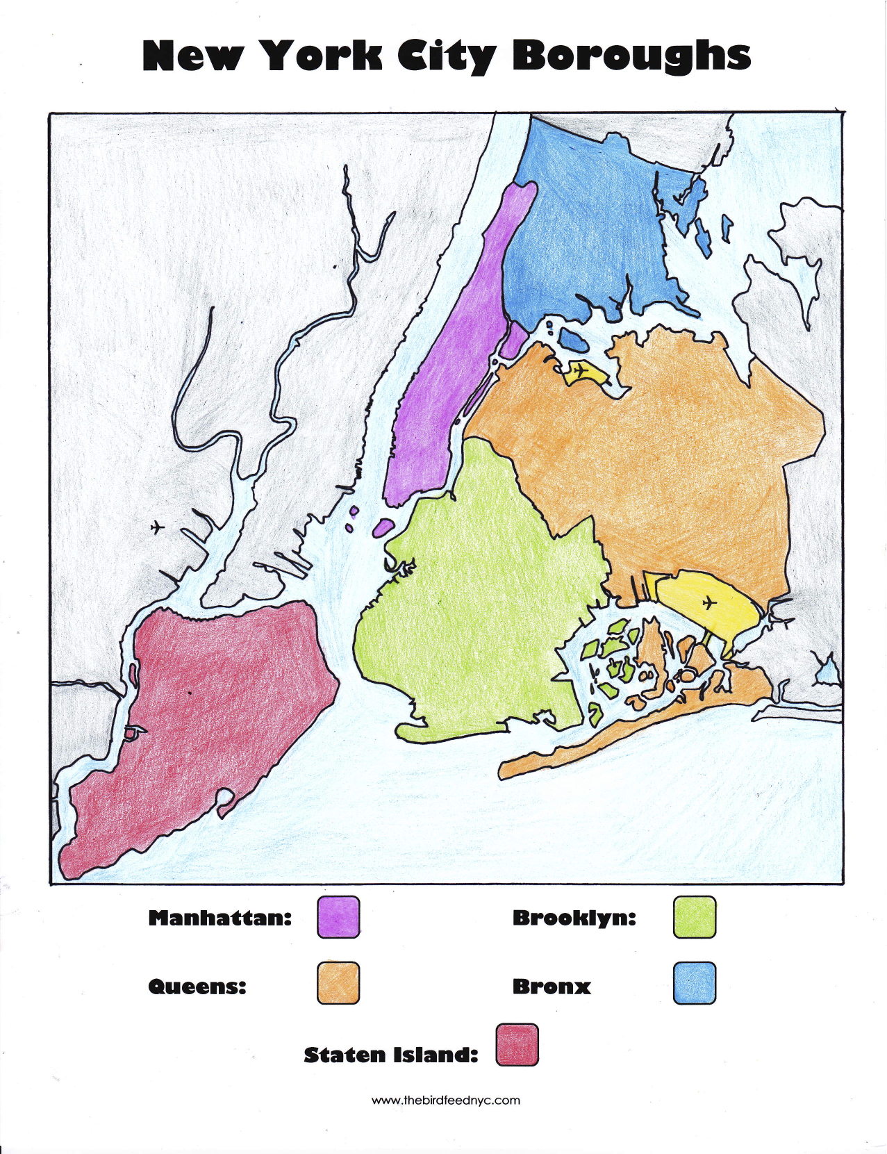 New York City Boroughs Coloring Activity For Kids - New york city map with boroughs