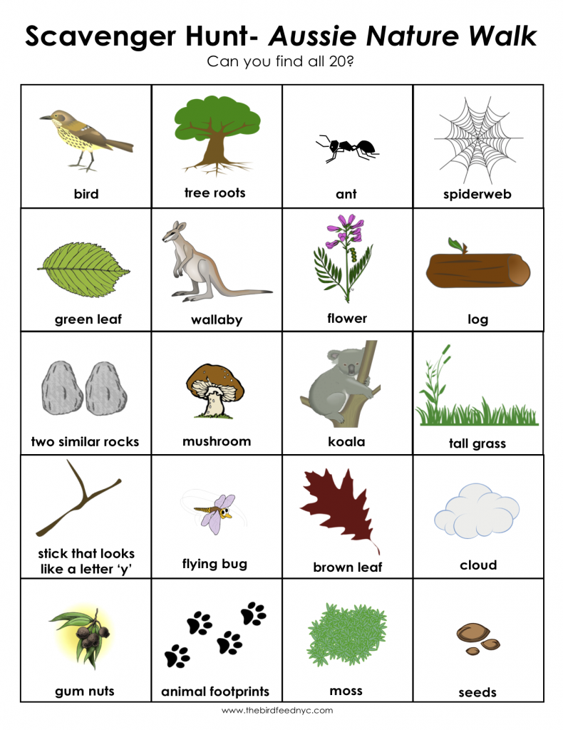 Scavenger Hunt For Kids Aussie Nature Walk on Zoo Printables